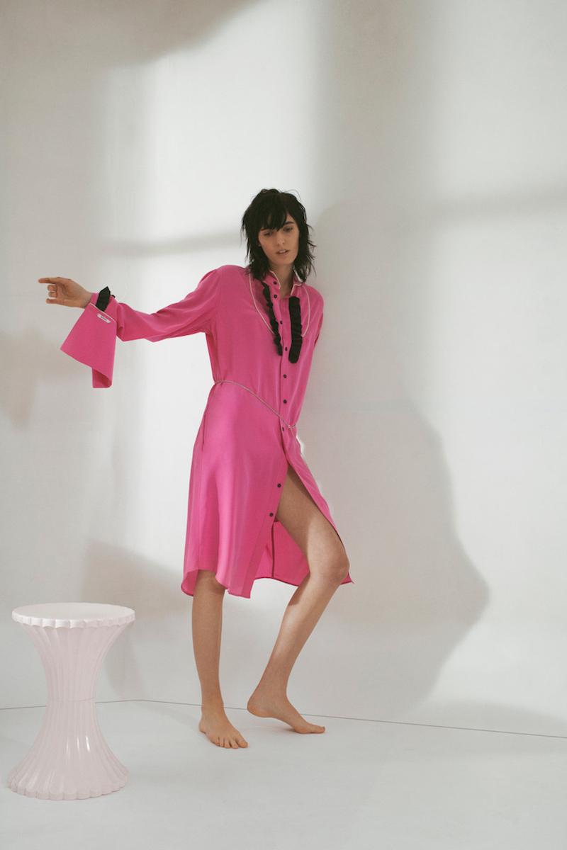 Blouse Magnus Asymmetric Ruffle-Trimmed Crepe Shirtdress