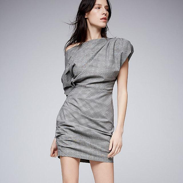 Carmen March One Shoulder Wool Dress