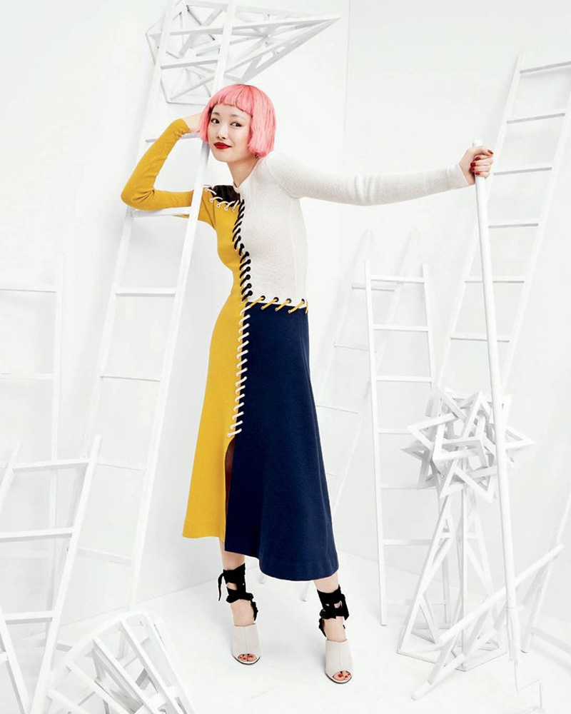 Cédric Charlier Colorblock Lace-Up Sweaterdress