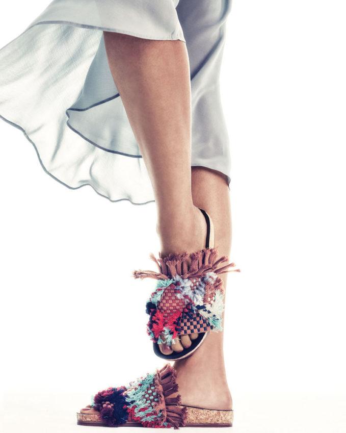 Chloe Kerenn Woven Fringe Slide Sandal