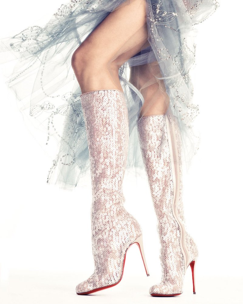 Christian Louboutin Tennissina Sequined Red Sole Knee Boot