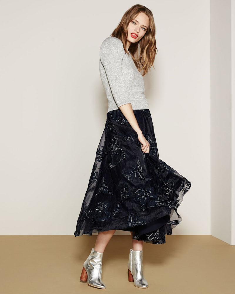 Co Embroidered Iris Organza Full Midi Skirt