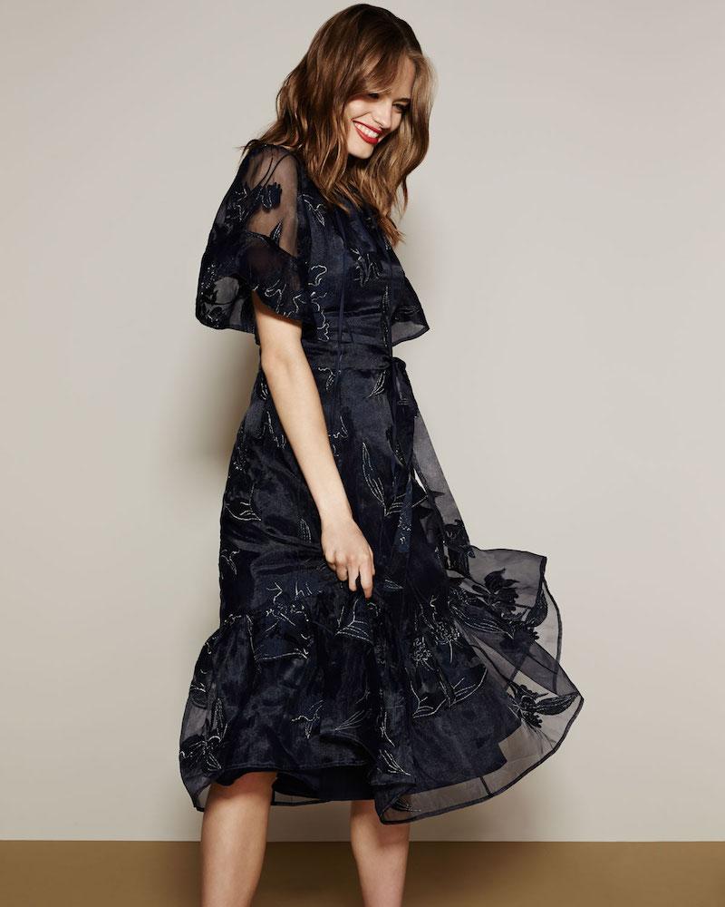 Co Iris Embroidered Organza A-Line Midi Dress