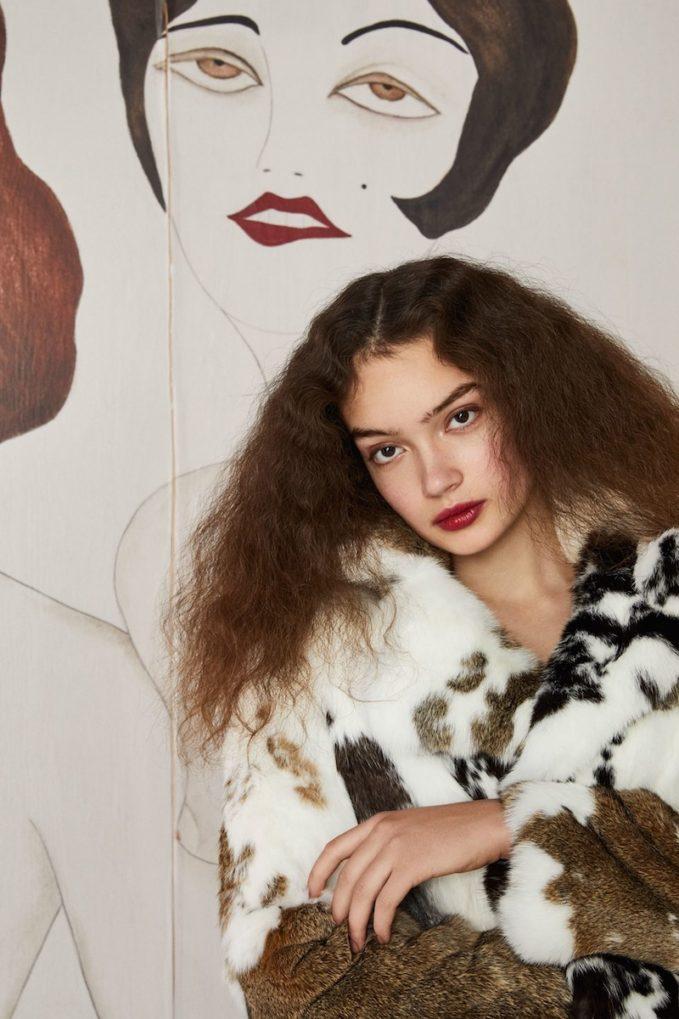 Co Patchwork Fur Coat