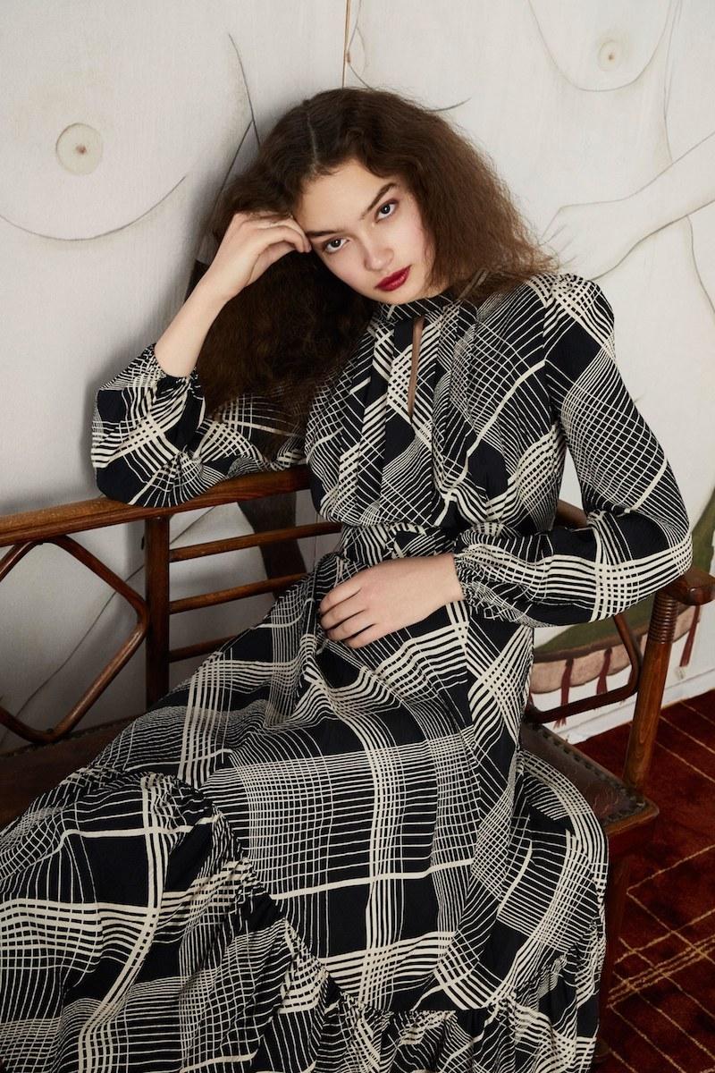 Co Plaid Hammered Silk Midi Dress