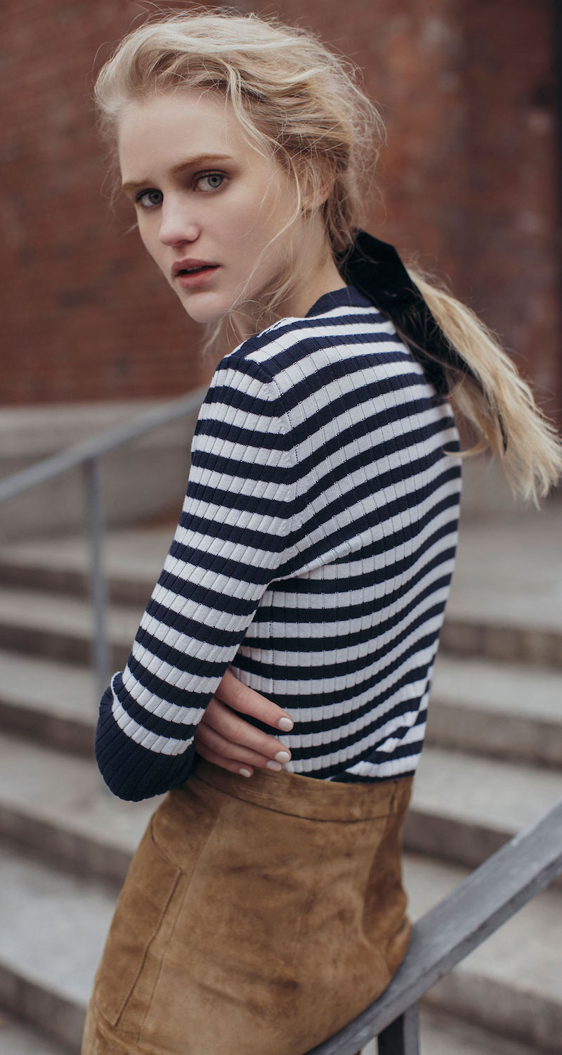 Courrèges Striped Cotton And Cashmere-Blend Sweater