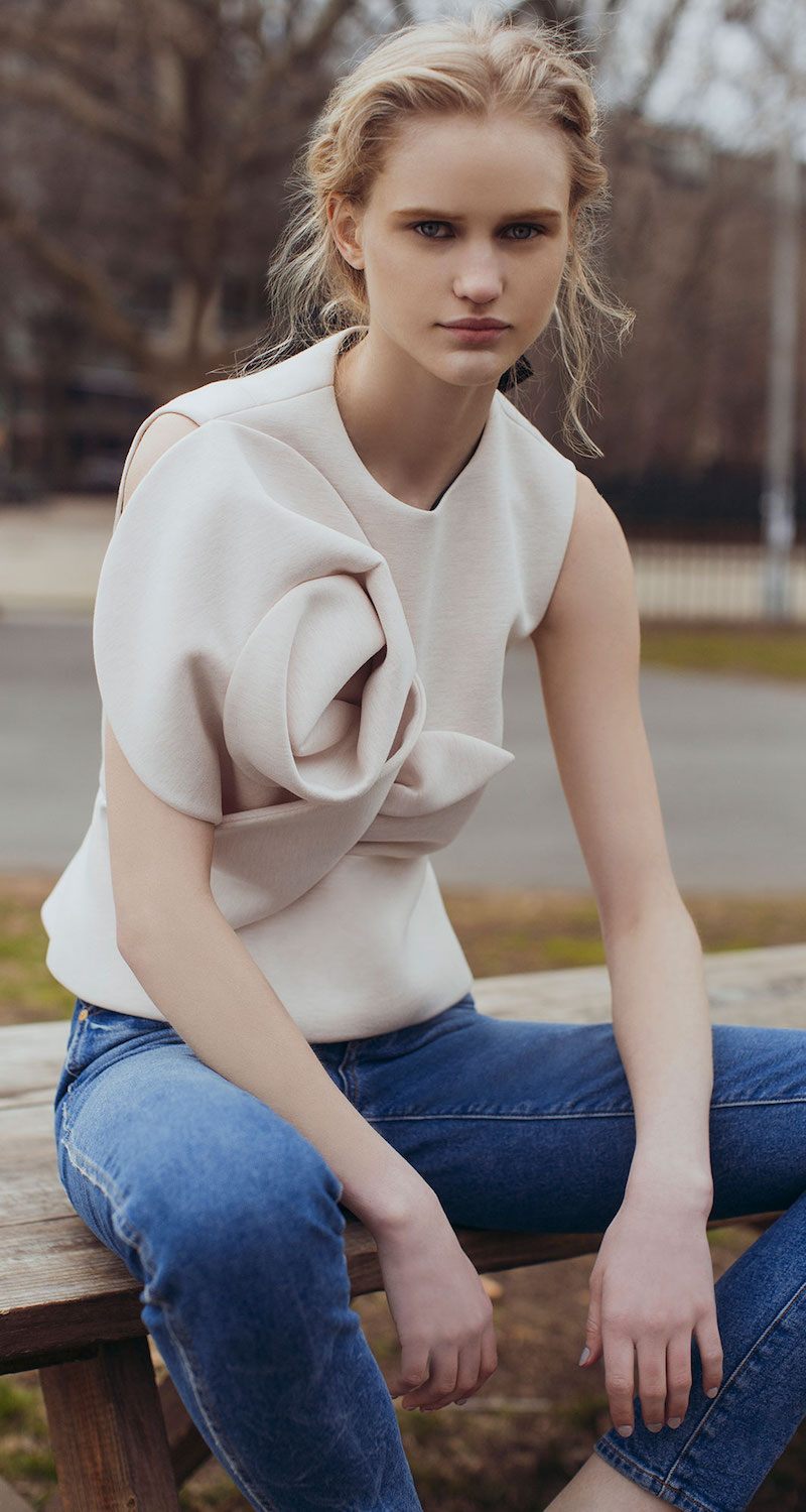 DELPOZO Neoprene Top With Flower
