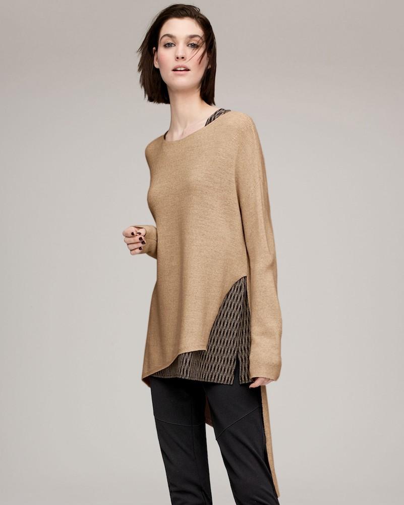 Eileen Fisher Asymmetrical Merino Wool Pullover