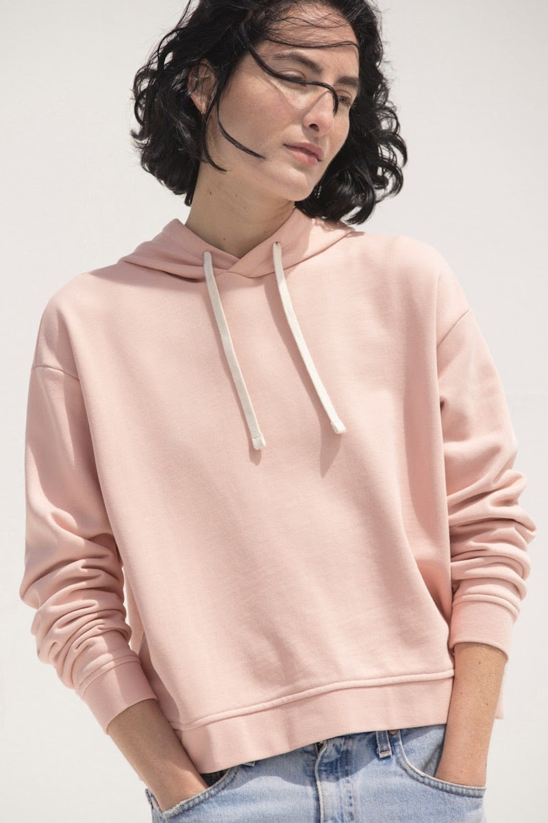 Everlane Classic French Terry Square Hoodie in Rose