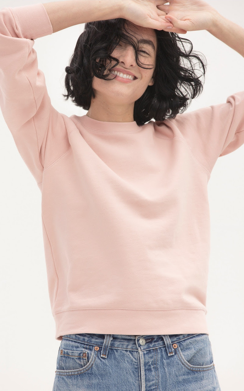 Everlane Slim Classic French Terry Crew in Rose