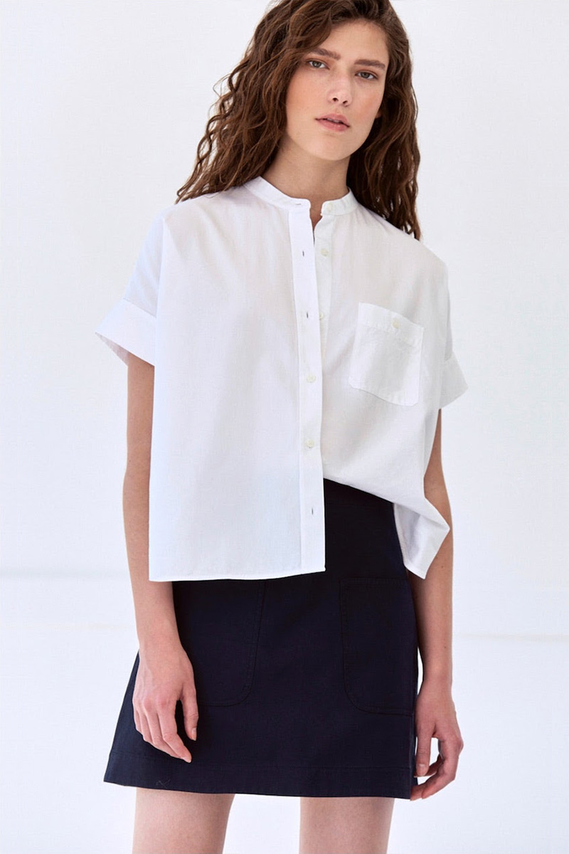 Everlane The Light Oxford Collarless Short-Sleeve Square Shirt in White