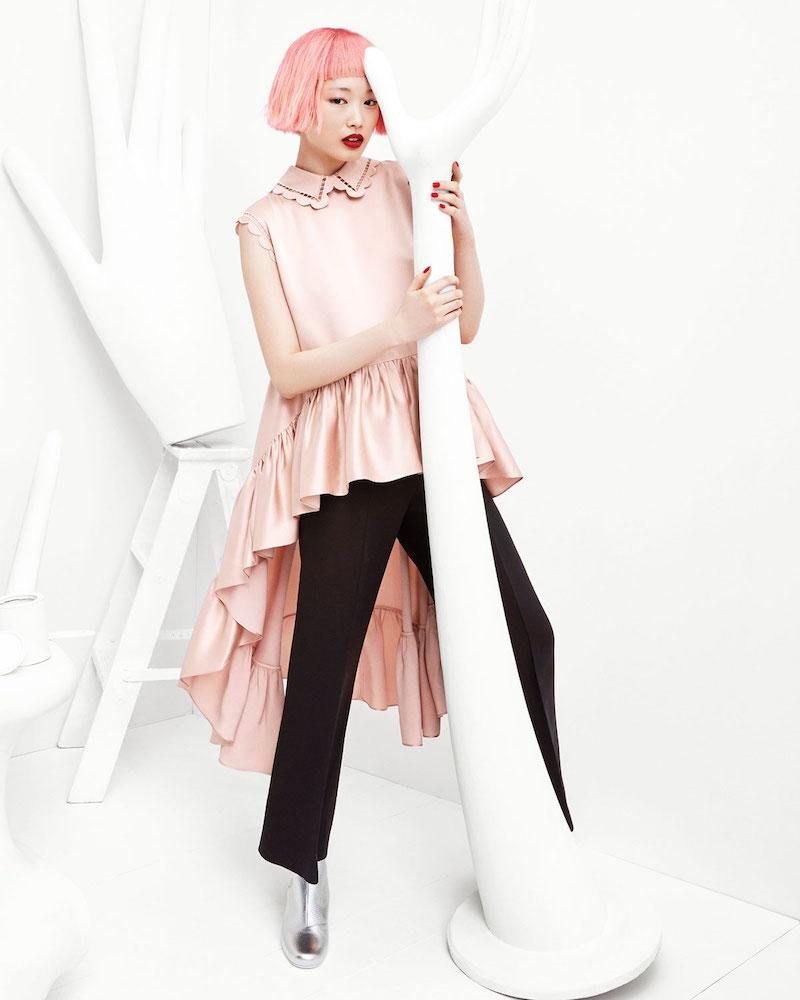 Fendi Scallop-Edge Silk High-Low Blouse