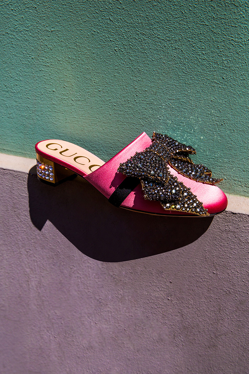 Gucci 35mm Silk Satin Mules with Crystal Bow