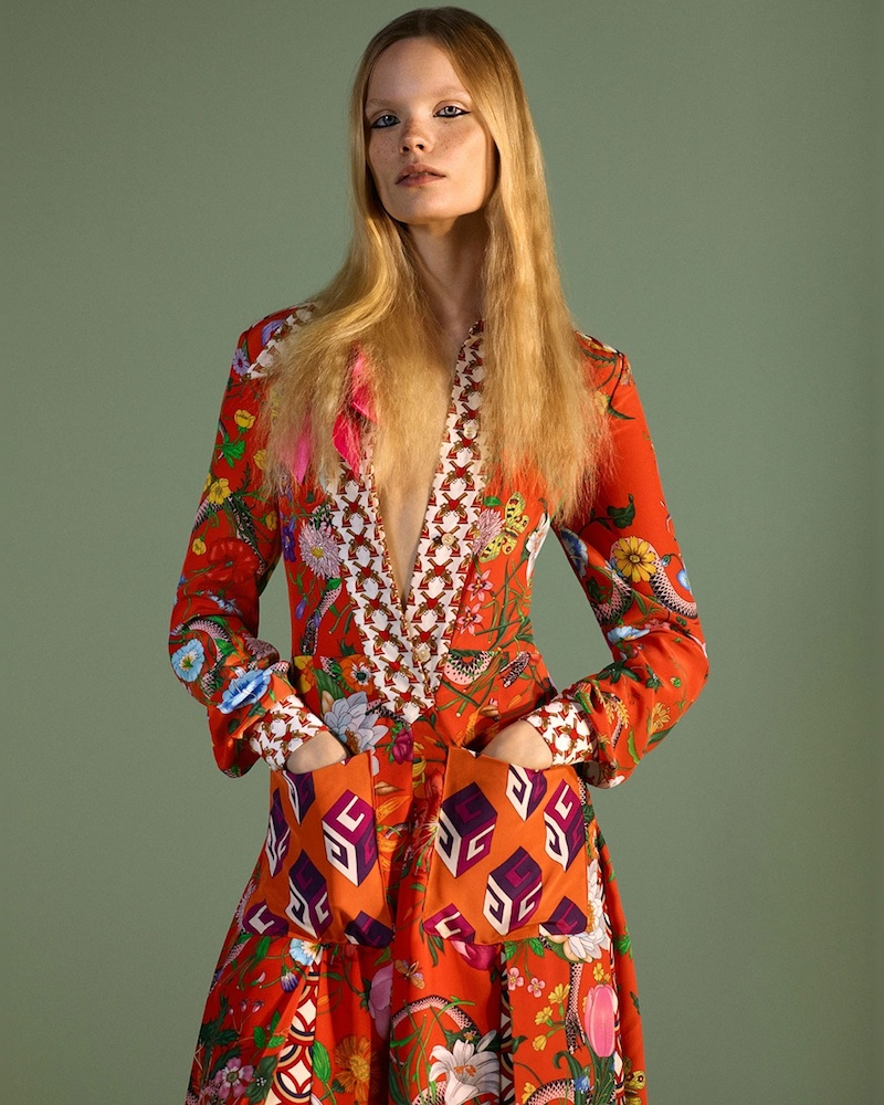 Gucci Floral Patchwork-Print Silk Crepe de Chine Dress