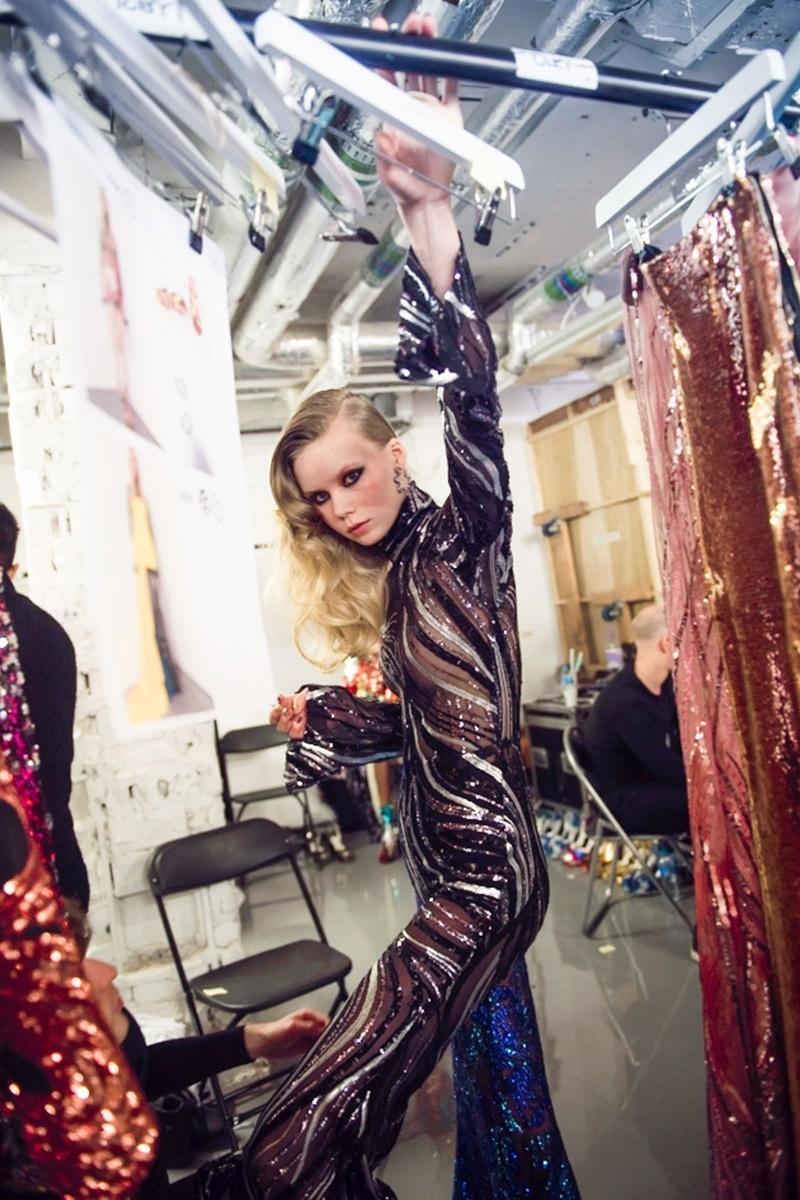 Halpern Sequin-Embellished Flared Jumpsuit