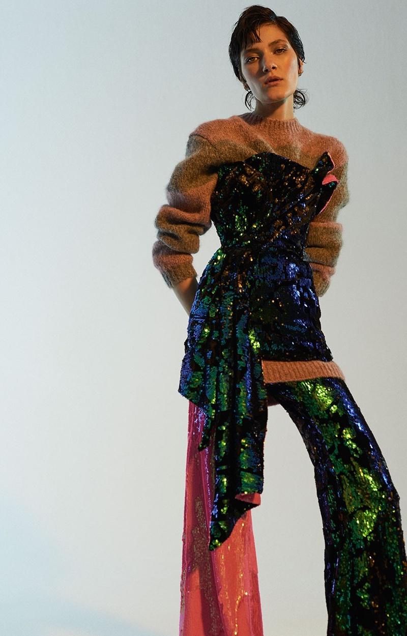 Halpern Sequin-Embellished Velvet Bustier Top