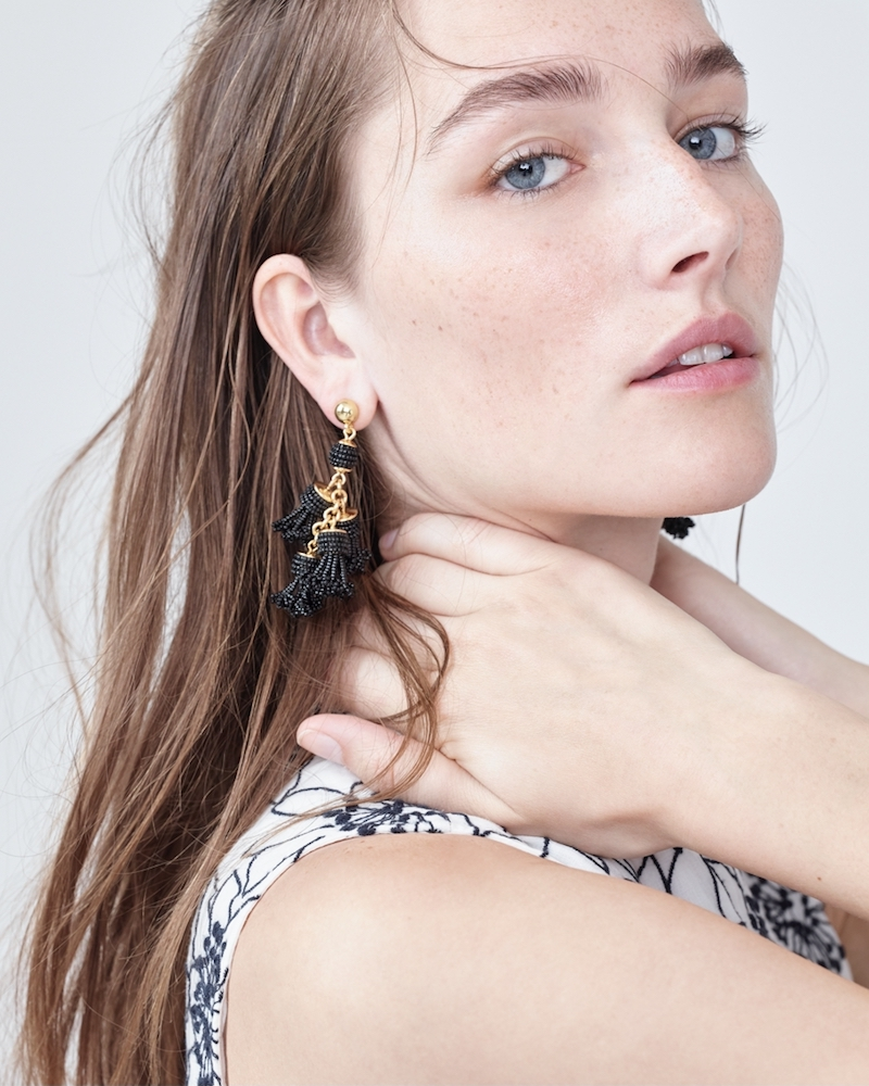 J.Crew Beaded Tassel Chandelier Earrings