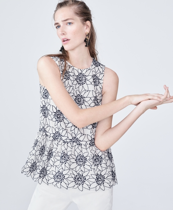 J.Crew Embroidered Floral Top