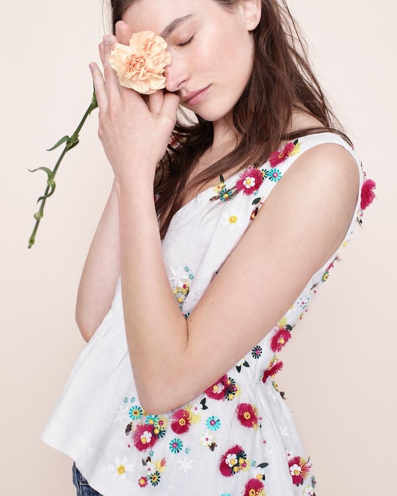 J.Crew Hand-Embellished Floral Top