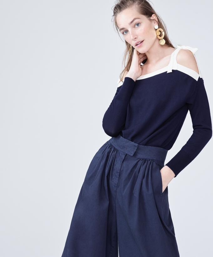 J.Crew Merino Wool Cold-Shoulder Sweater