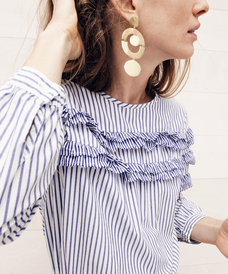 J.Crew Tiered Top In Mixed Stripes