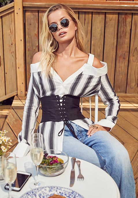 KENDALL + KYLIE Stripe Off Shoulder Top
