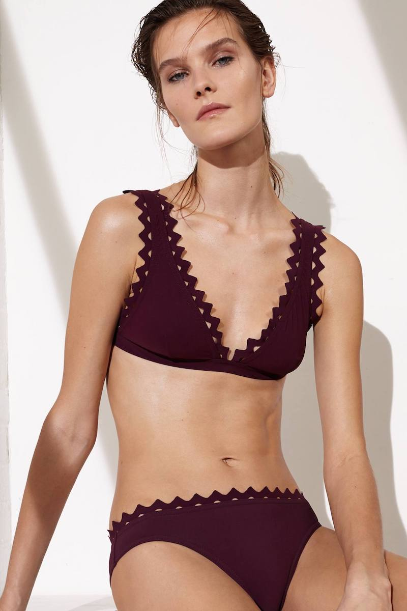 Karla Colletto Wine Reina Bralette Bikini Top