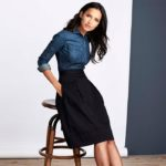 Lands' End Jet Black Cotton Full Skirt
