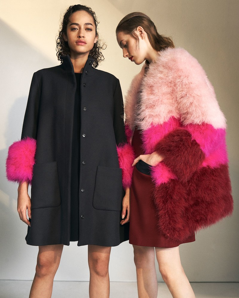 Lisa Perry Colorblocked Feather Coat