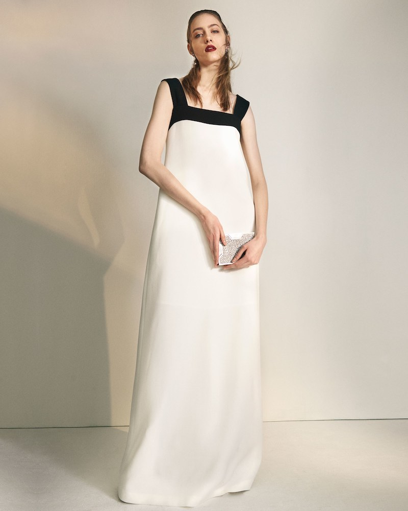 Lisa Perry Colorblocked Wool Cocktail Gown