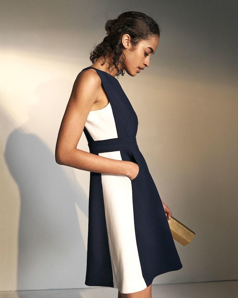 Lisa Perry Colorblocked Wool Dress