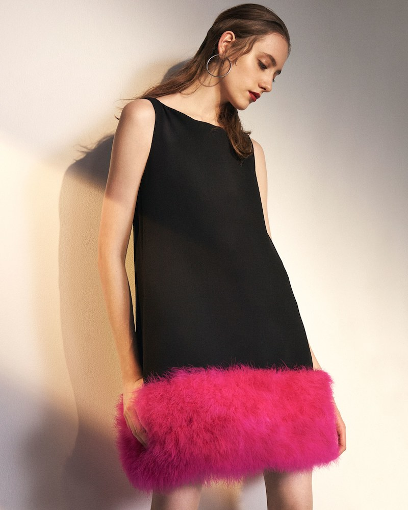 Lisa Perry Feather-Trimmed Wool Shift Dress