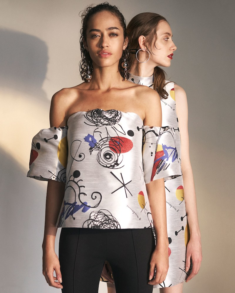 Lisa Perry Jacquard Shantung Off-The-Shoulder Top