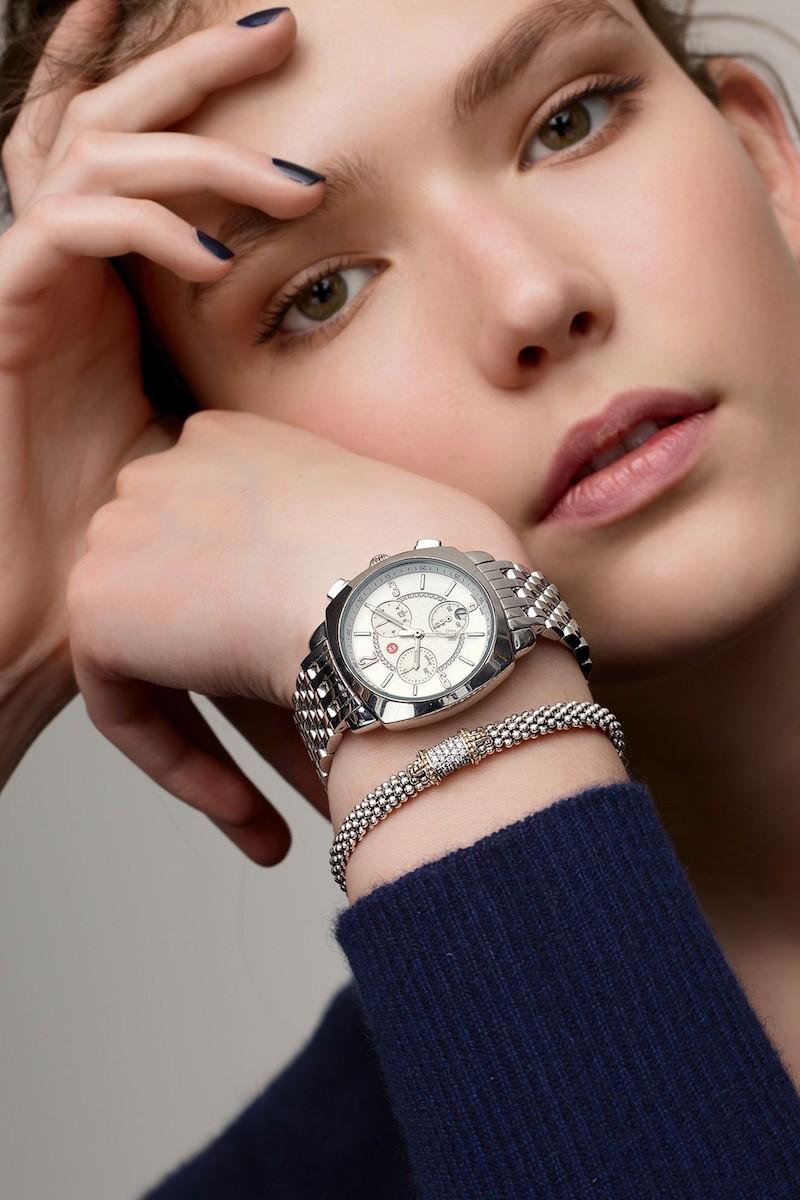 MICHELE Ascalon 38mm Diamond Dial Chronograph Watch Head & Bracelet