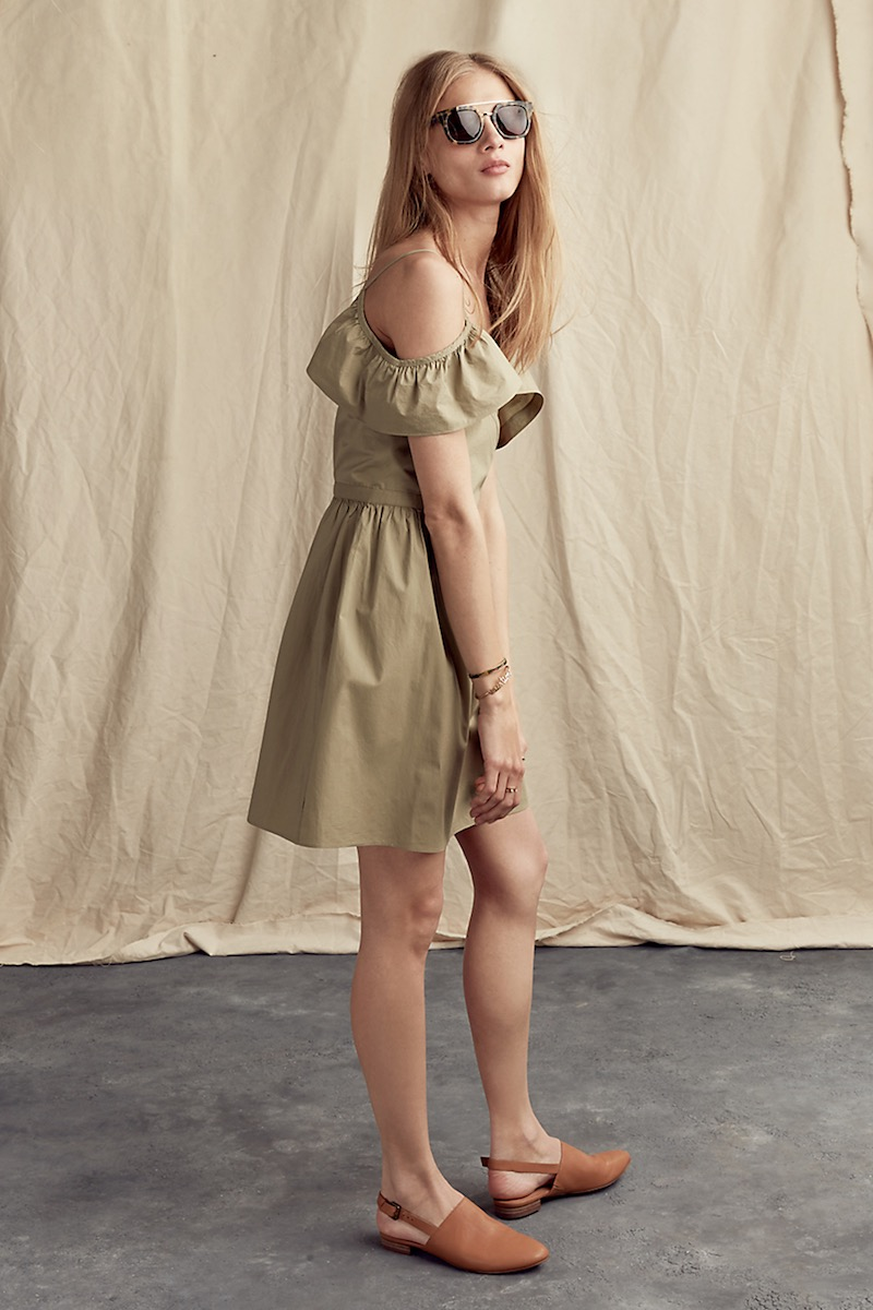 Madewell Khaki Cold-Shoulder Ruffle Dress