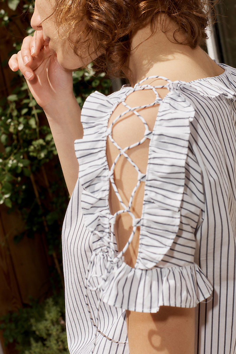 Madewell Ruffled Lace-Up Top in Stripe