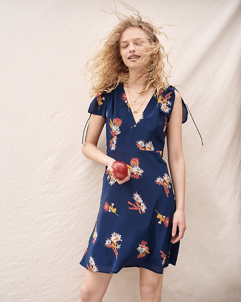 Madewell Silk Poppy Dress In Cactus Flower