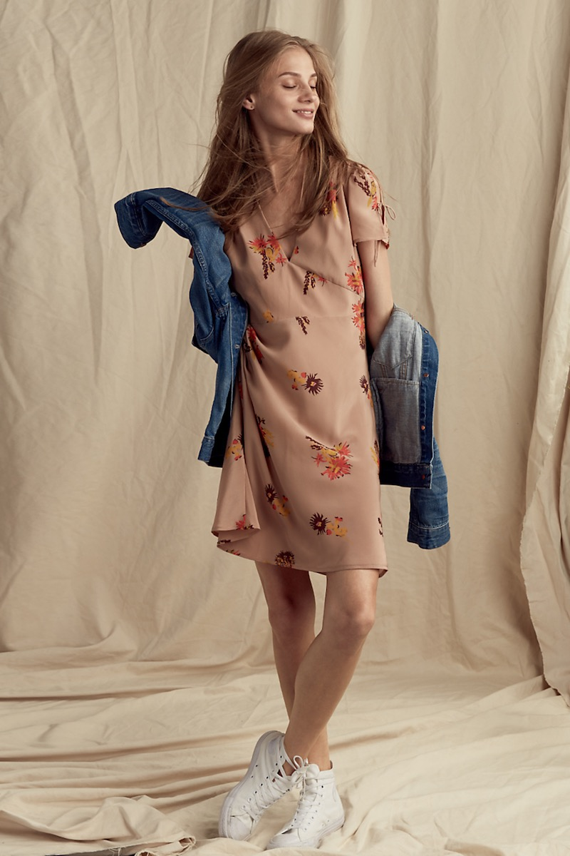 Madewell Silk Poppy Dress In Cactus Flower