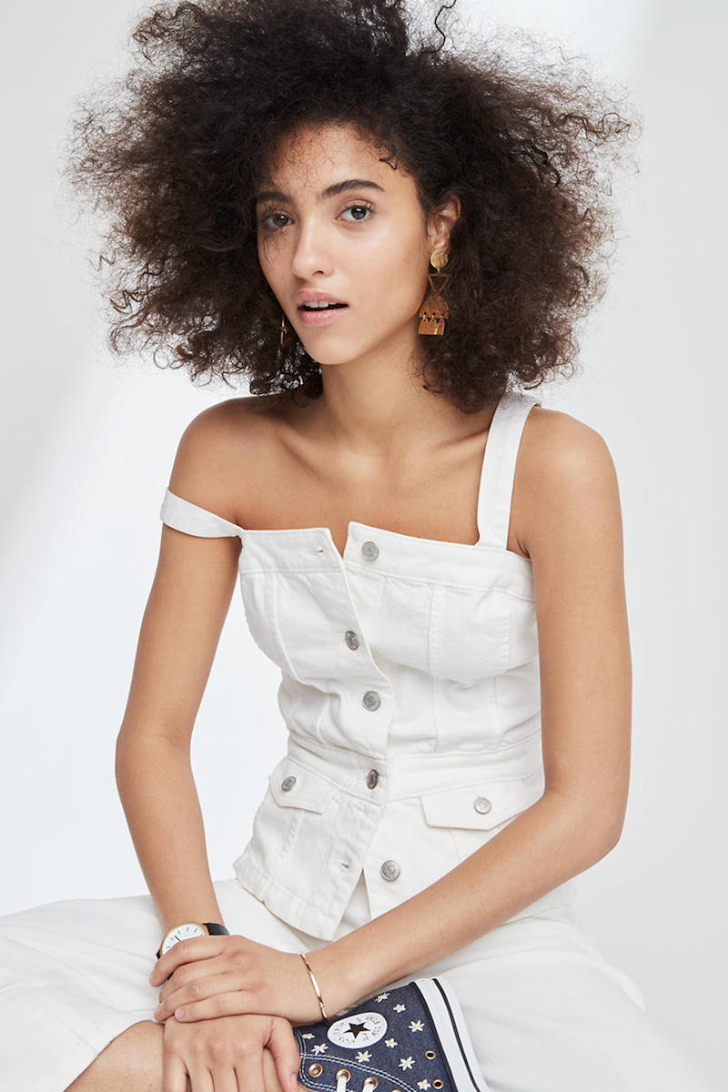 Madewell White Denim Button-Front Top