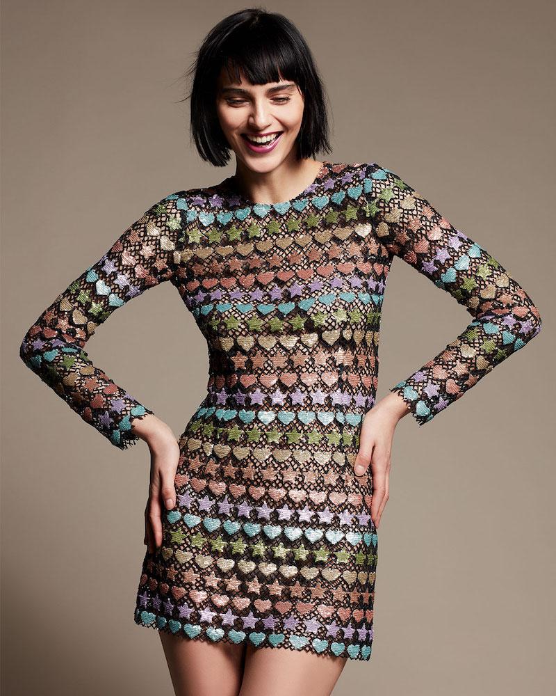 Marc Jacobs Heart & Star-Embellished Long-Sleeve Sheath Dress