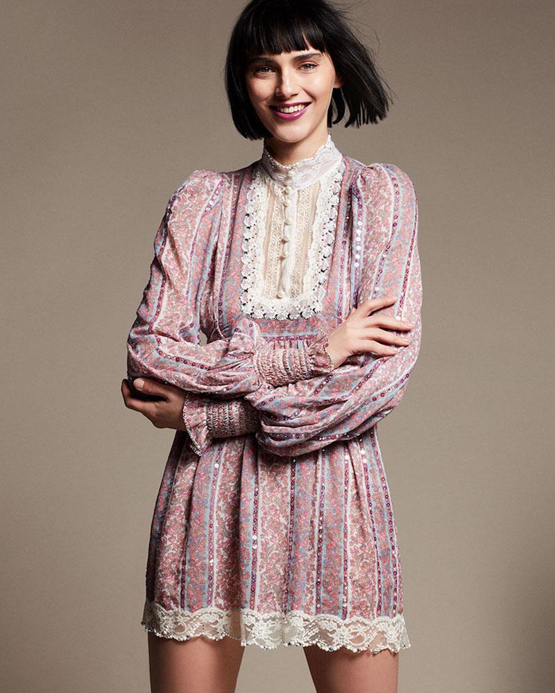 Marc Jacobs Mock-Neck Floral-Print Babydoll Dress
