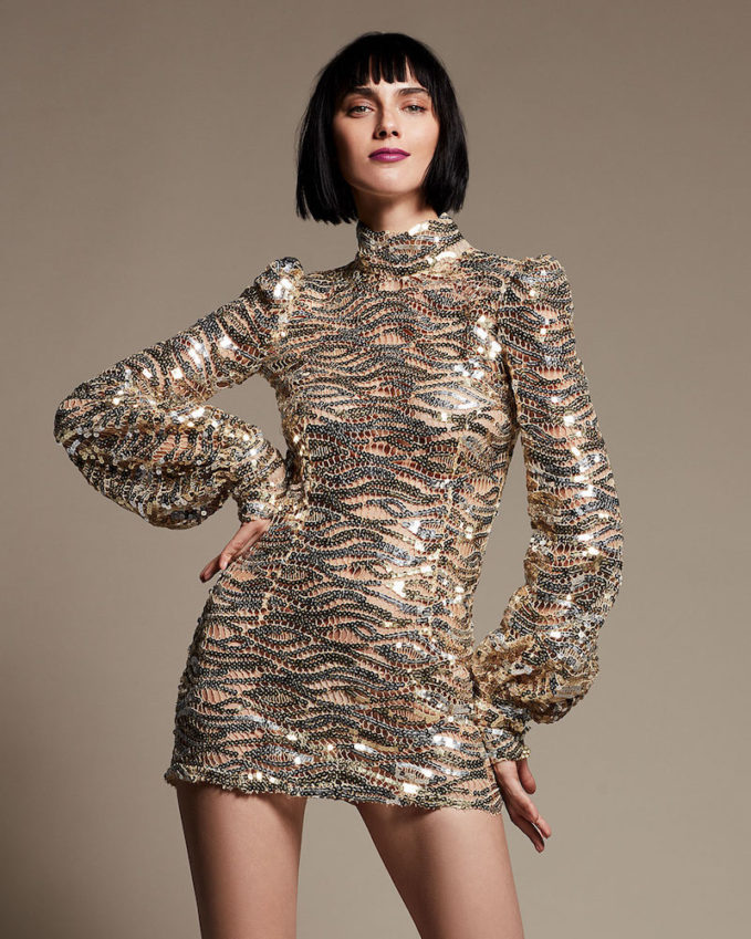 Marc Jacobs Sequined Mock-Neck Mini Dress