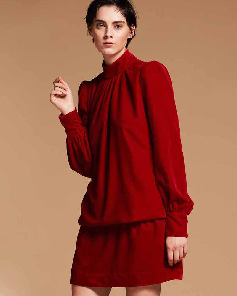 Marc Jacobs Velvet Mock-Neck Blouson Dress