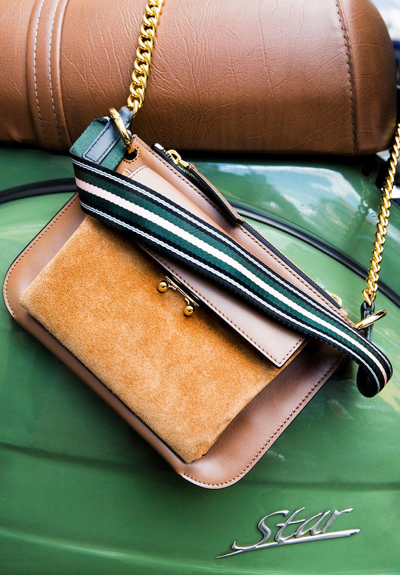 Marni Bicolor Pocket Suede Shoulder Bag