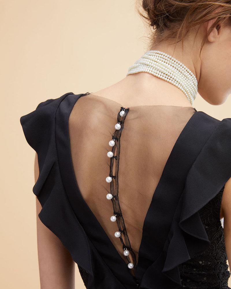 Monique Lhuillier Guipure Lace Illusion Ruffle Gown 1