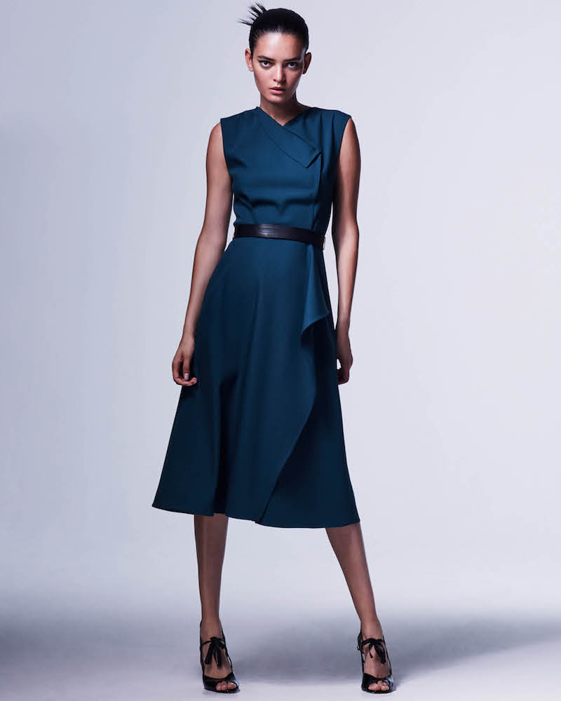 Narciso Rodriguez Wool Draped Belted Dress