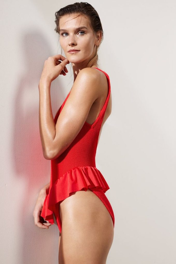 Pandora Sykes x Hunza G Red Frill Denise Swimsuit
