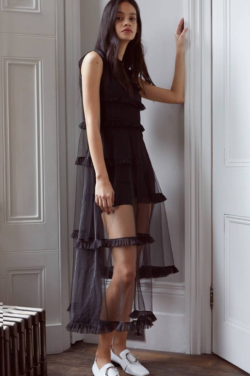 Paskal Black Tulle Frill Trim Midi Dress