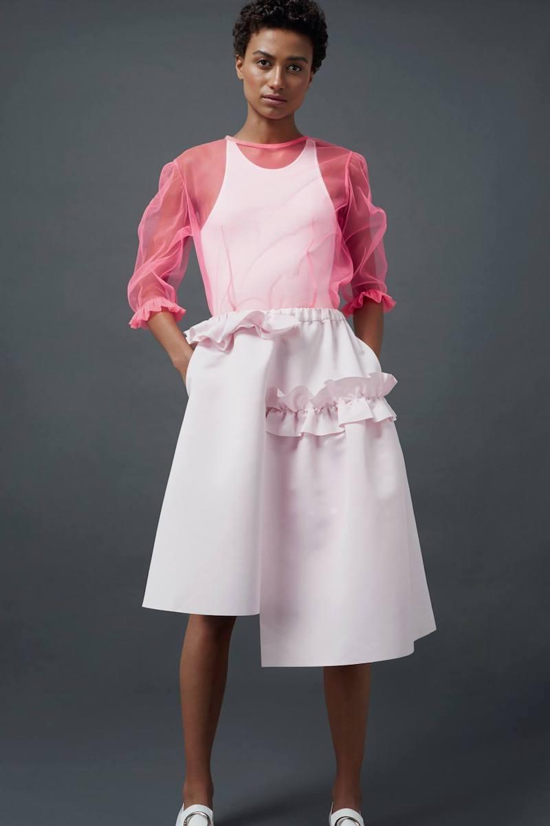 Paskal Bubblegum Pink Frill Trim A-Line Skirt