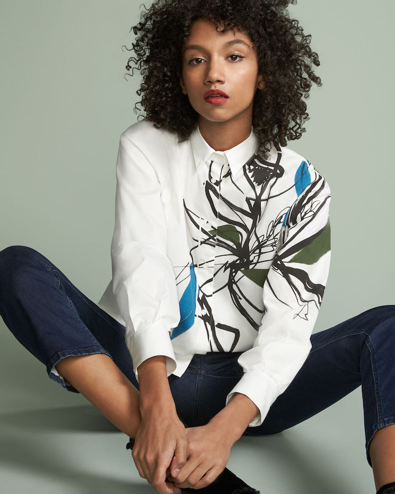 Piazza Sempione Abstract-Print Stretch Cotton Shirt